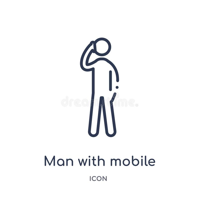 Linear man with mobile phone icon from Behavior outline collection. Thin line man with mobile phone vector isolated on white royalty free illustration