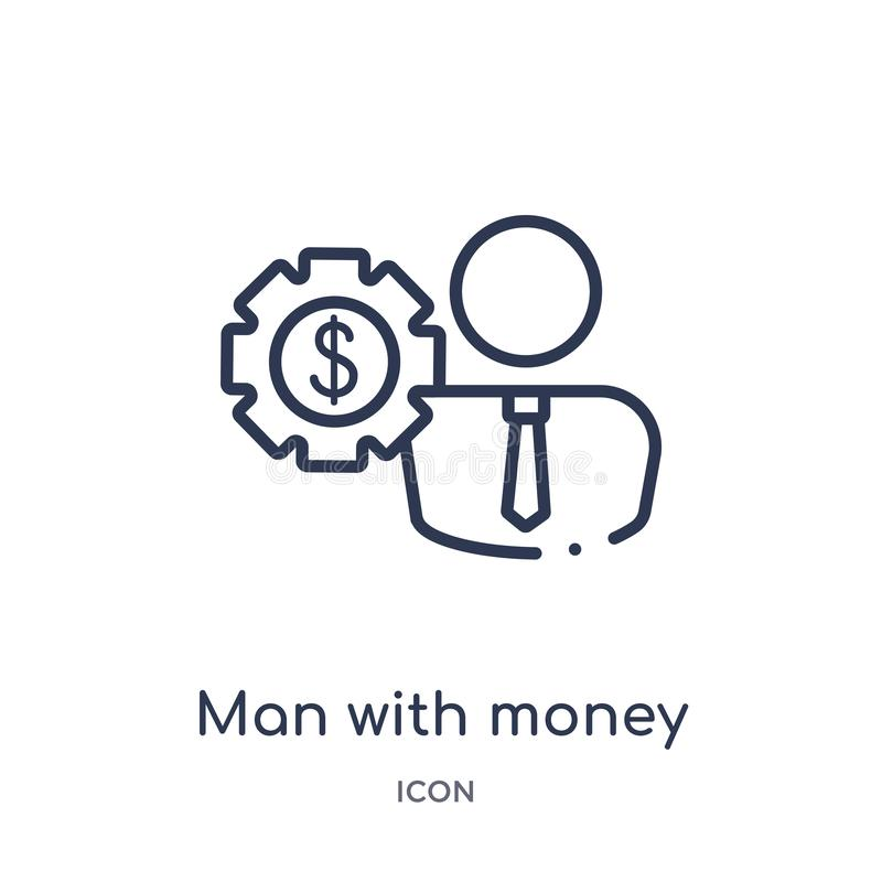 Linear man with money gears icon from Business outline collection. Thin line man with money gears icon isolated on white vector illustration