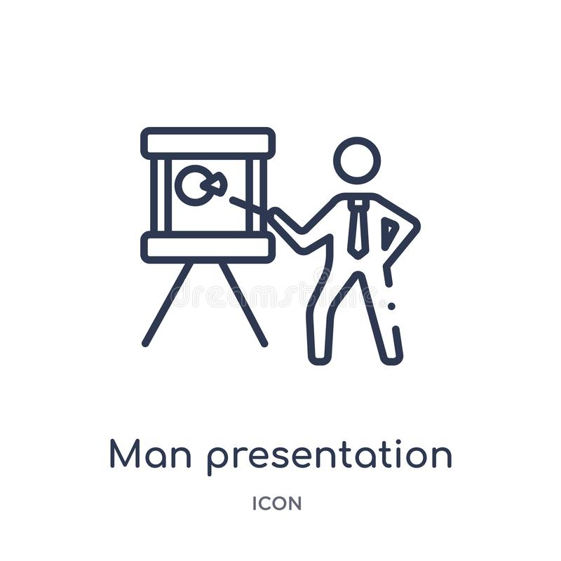 Linear man presentation icon from Business outline collection. Thin line man presentation icon isolated on white background. man stock illustration