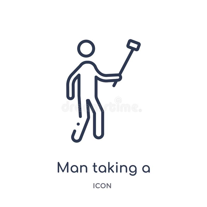 Linear man taking a selfie icon from Behavior outline collection. Thin line man taking a selfie vector isolated on white royalty free illustration