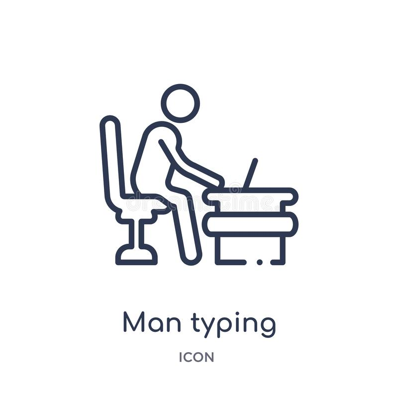 Linear man typing icon from Behavior outline collection. Thin line man typing vector isolated on white background. man typing stock illustration