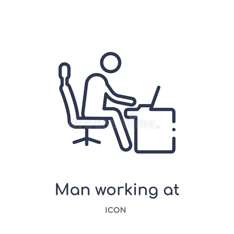 Linear man working at desk icon from Behavior outline collection. Thin line man working at desk vector isolated on white stock illustration
