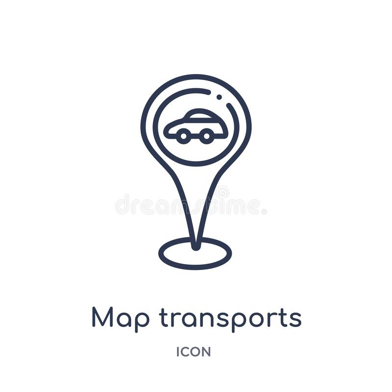 Linear map transports icon from Maps and locations outline collection. Thin line map transports icon isolated on white background vector illustration