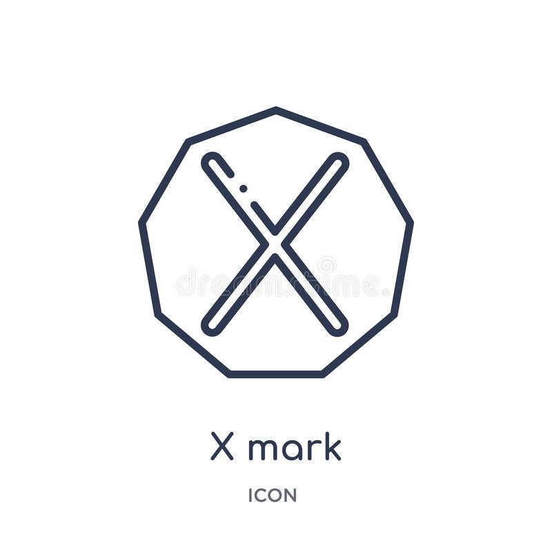 Linear x mark icon from Interface outline collection. Thin line x mark icon isolated on white background. x mark trendy royalty free illustration