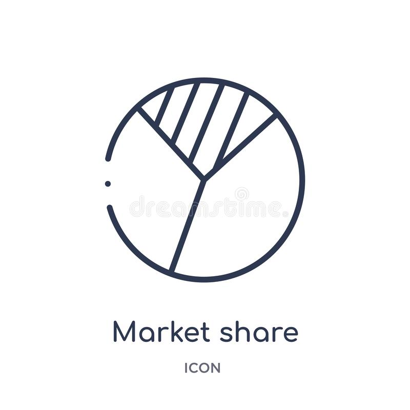 Linear market share icon from General outline collection. Thin line market share icon isolated on white background. market share vector illustration