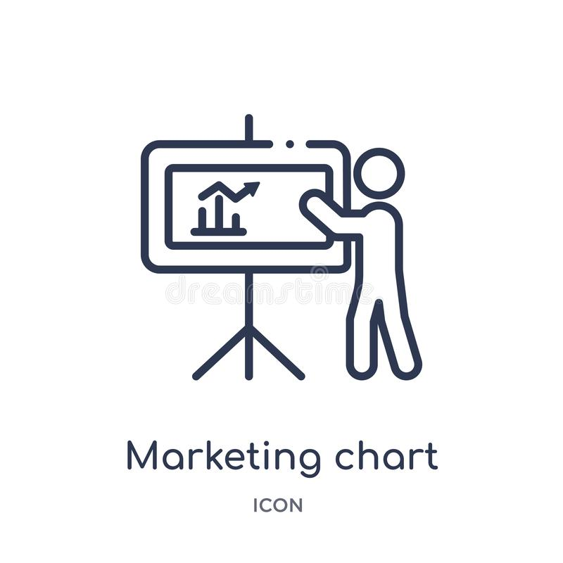 Linear marketing chart icon from Business outline collection. Thin line marketing chart icon isolated on white background. stock illustration