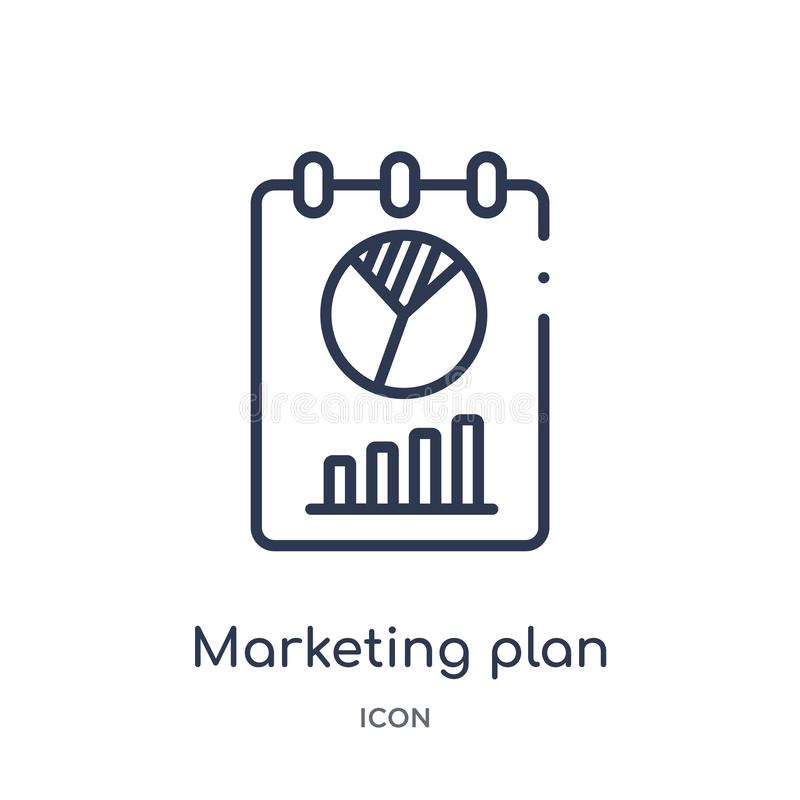 Linear marketing plan icon from General outline collection. Thin line marketing plan icon isolated on white background. marketing royalty free illustration