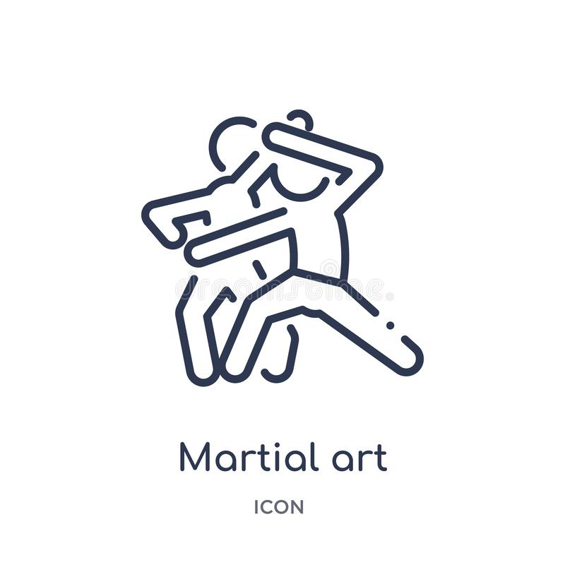 Linear martial art icon from Activity and hobbies outline collection. Thin line martial art vector isolated on white background. stock illustration