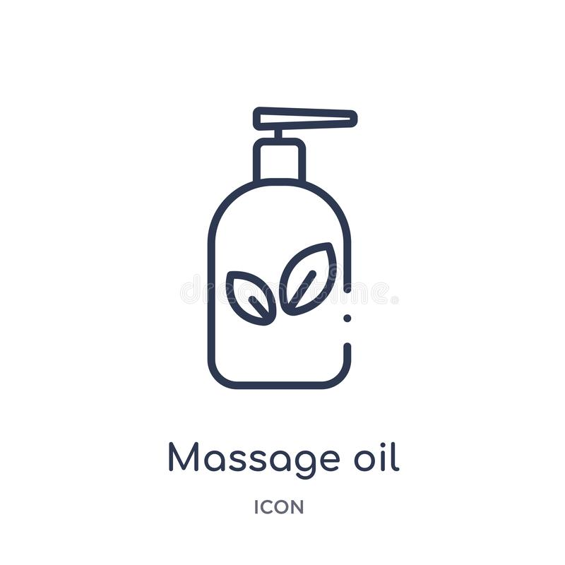 Linear massage oil icon from General outline collection. Thin line massage oil icon isolated on white background. massage oil vector illustration