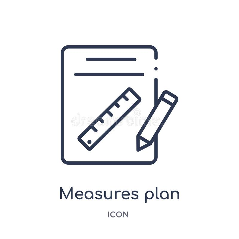 Linear measures plan icon from Construction outline collection. Thin line measures plan vector isolated on white background. vector illustration