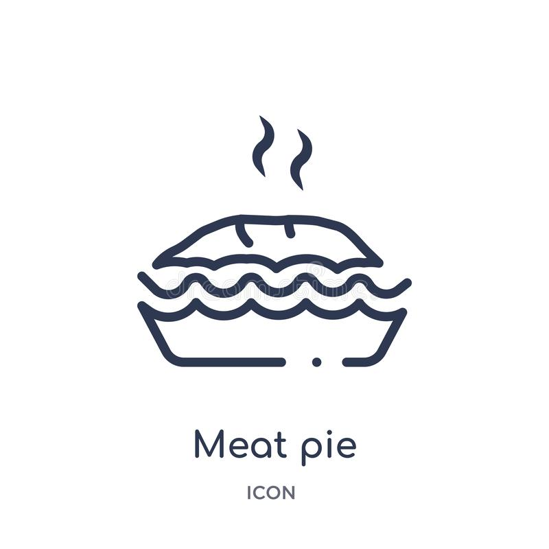 Linear meat pie icon from Culture outline collection. Thin line meat pie vector isolated on white background. meat pie trendy royalty free illustration