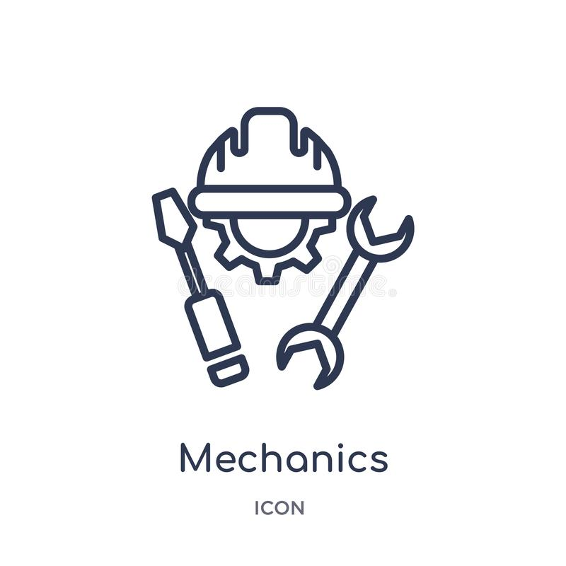 Linear mechanics icon from General outline collection. Thin line mechanics icon isolated on white background. mechanics trendy stock illustration