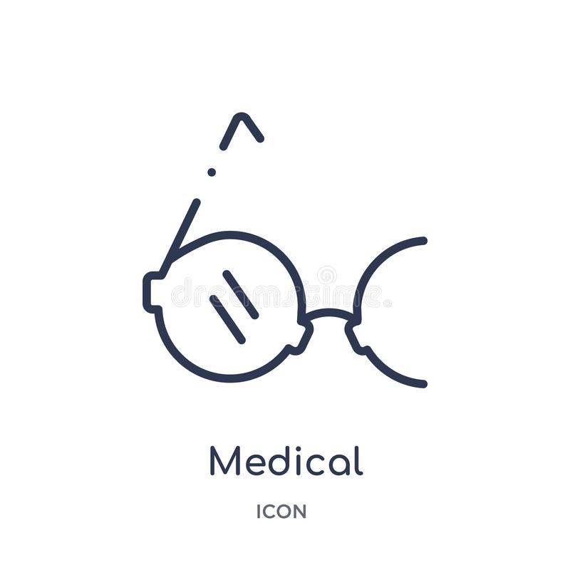 Linear medical circular glasses icon from Medical outline collection. Thin line medical circular glasses icon isolated on white royalty free illustration