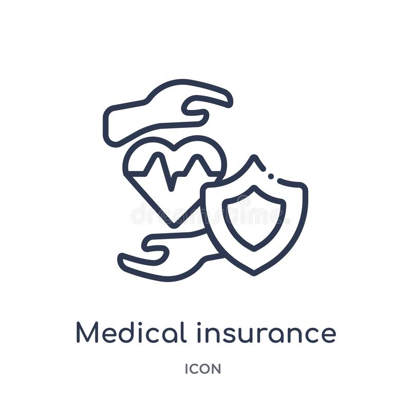 Linear medical insurance icon from Medical outline collection. Thin line medical insurance icon isolated on white background. royalty free illustration
