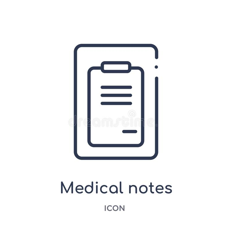 Linear medical notes of a list paper on a clipboard icon from Medical outline collection. Thin line medical notes of a list paper vector illustration