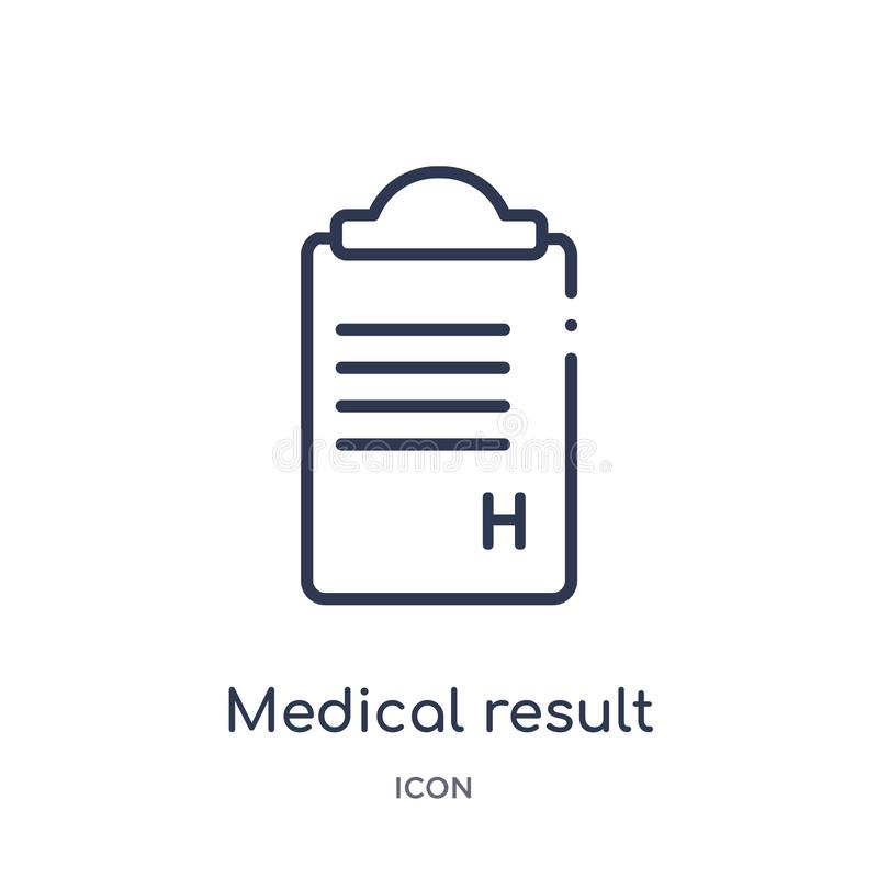 Linear medical result icon from Health and medical outline collection. Thin line medical result icon isolated on white background vector illustration