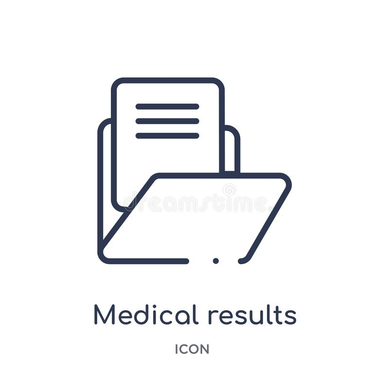 Linear medical results folders icon from Medical outline collection. Thin line medical results folders icon isolated on white royalty free illustration