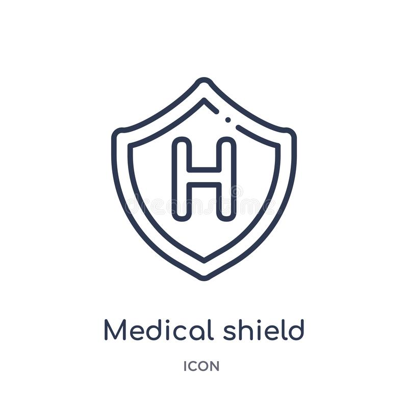 Linear medical shield icon from Health and medical outline collection. Thin line medical shield icon isolated on white background vector illustration