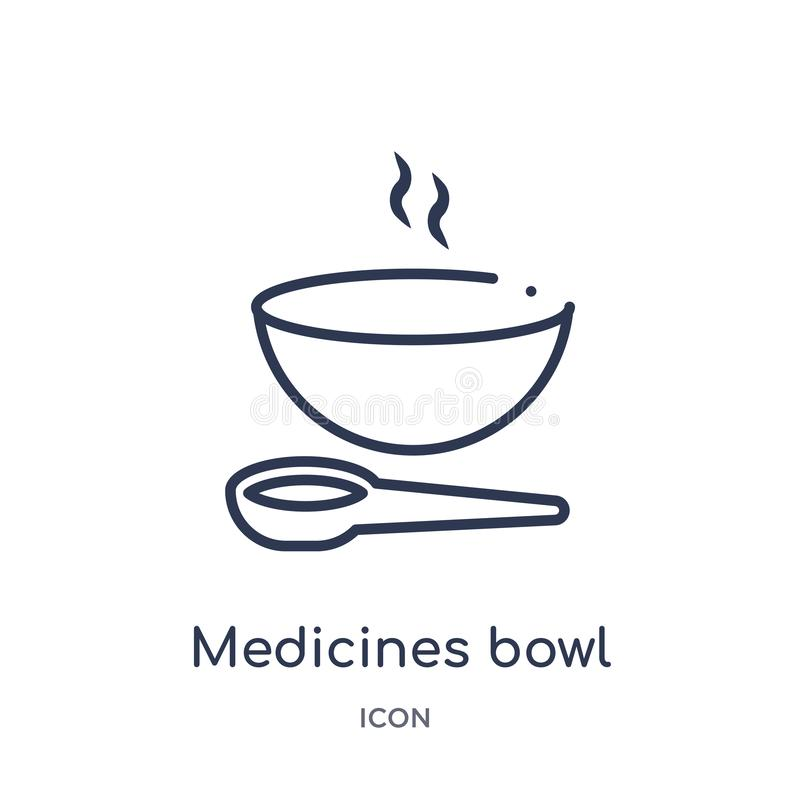 Linear medicines bowl icon from Medical outline collection. Thin line medicines bowl icon isolated on white background. medicines stock illustration