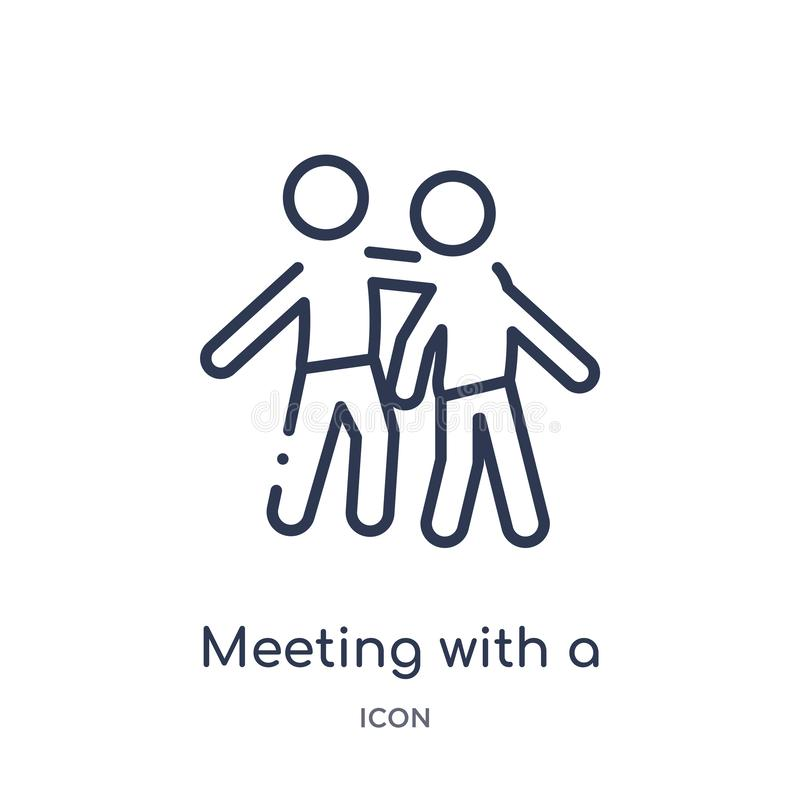 Linear meeting with a friend icon from Activity and hobbies outline collection. Thin line meeting with a friend vector isolated on royalty free illustration