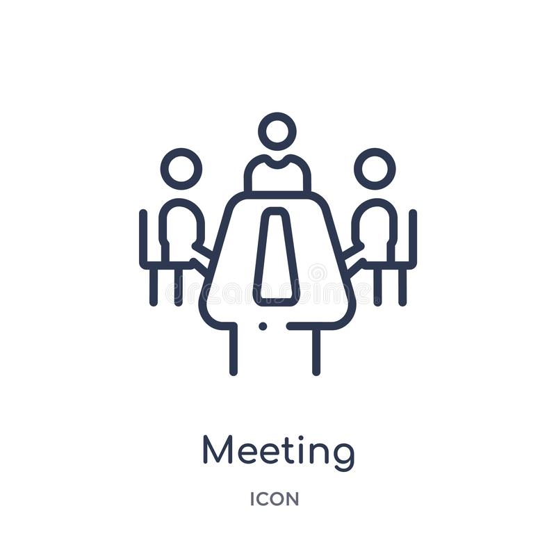 Linear meeting icon from Cryptocurrency economy and finance outline collection. Thin line meeting vector isolated on white stock illustration