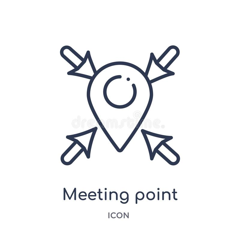 Linear meeting point icon from Human resources outline collection. Thin line meeting point icon isolated on white background. royalty free illustration