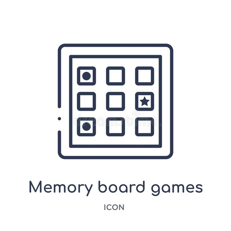 Linear memory board games icon from Entertainment outline collection. Thin line memory board games icon isolated on white. Background. memory board games trendy stock illustration