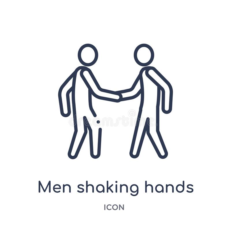 Linear men shaking hands icon from Business outline collection. Thin line men shaking hands icon isolated on white background. men royalty free illustration
