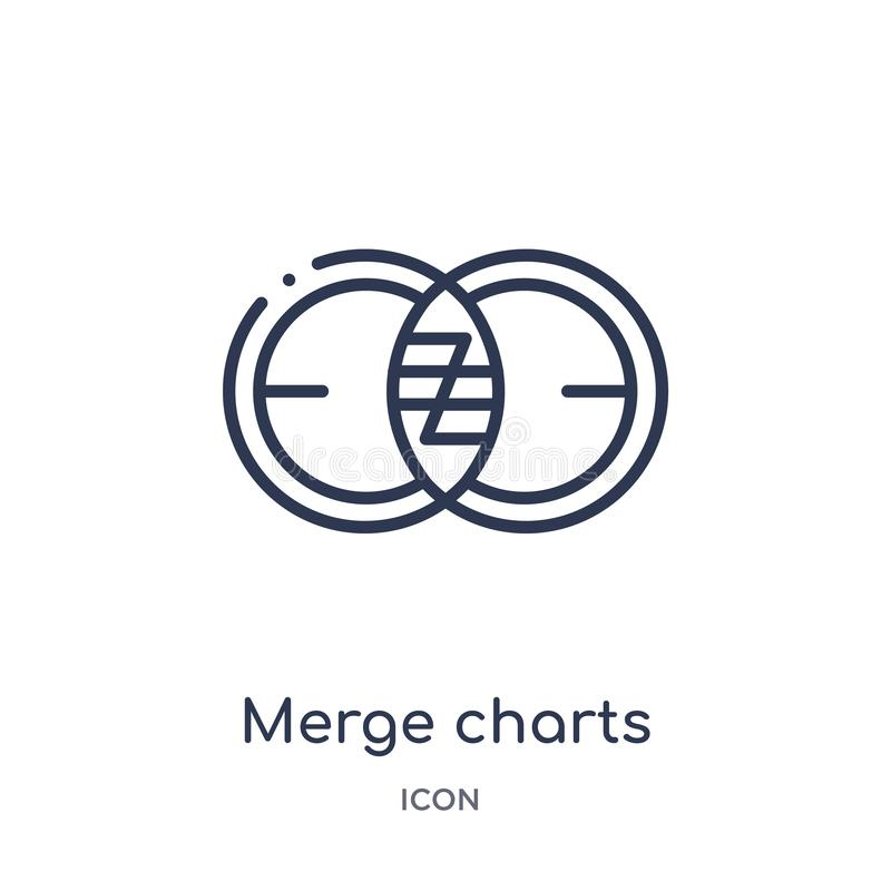 Linear merge charts icon from Business and analytics outline collection. Thin line merge charts vector isolated on white. Background. merge charts trendy stock illustration