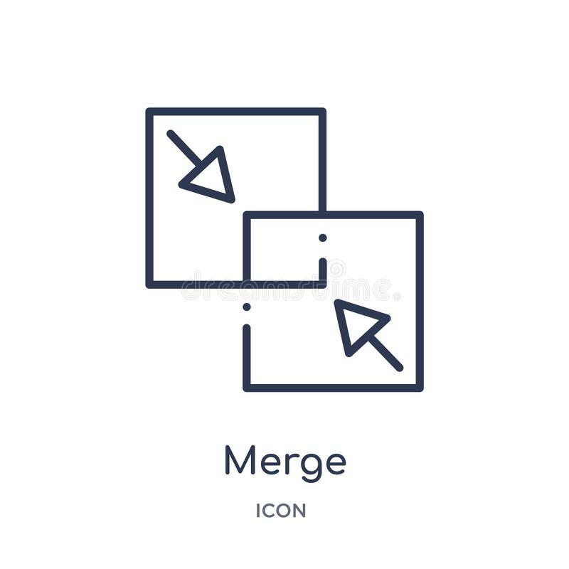 Linear merge icon from Geometric figure outline collection. Thin line merge icon isolated on white background. merge trendy stock illustration