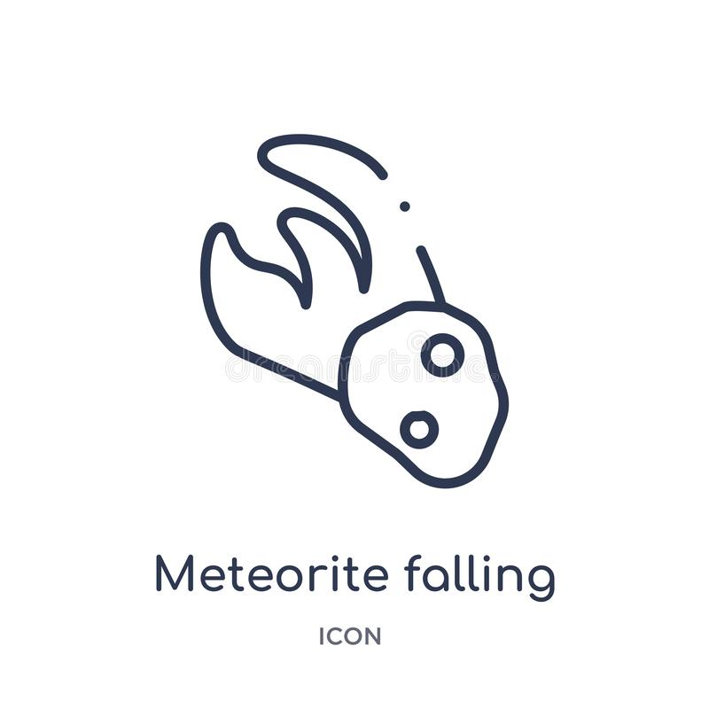 Linear meteorite falling icon from Astronomy outline collection. Thin line meteorite falling vector isolated on white background. vector illustration