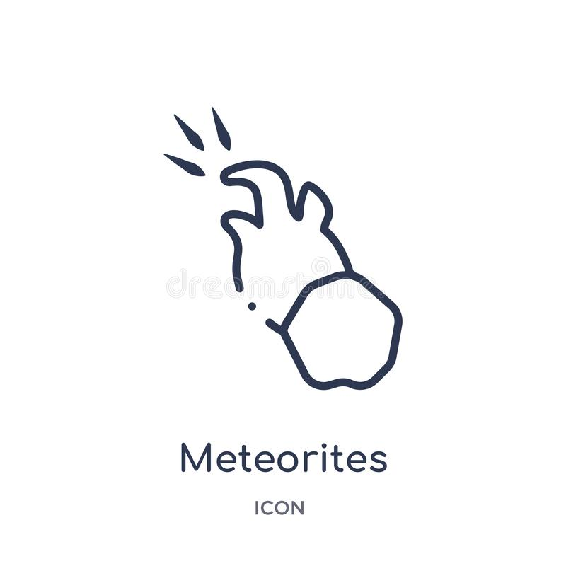 Linear meteorites icon from Astronomy outline collection. Thin line meteorites vector isolated on white background. meteorites stock illustration
