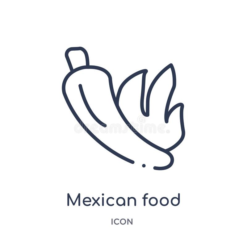 Linear mexican food icon from Bistro and restaurant outline collection. Thin line mexican food vector isolated on white background stock illustration
