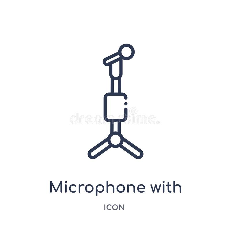 Linear microphone with stand icon from Education outline collection. Thin line microphone with stand icon isolated on white royalty free illustration