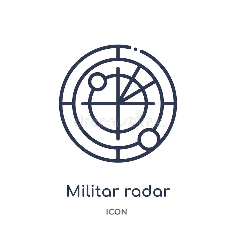 Linear militar radar icon from Army and war outline collection. Thin line militar radar vector isolated on white background. Militar radar trendy illustration royalty free illustration