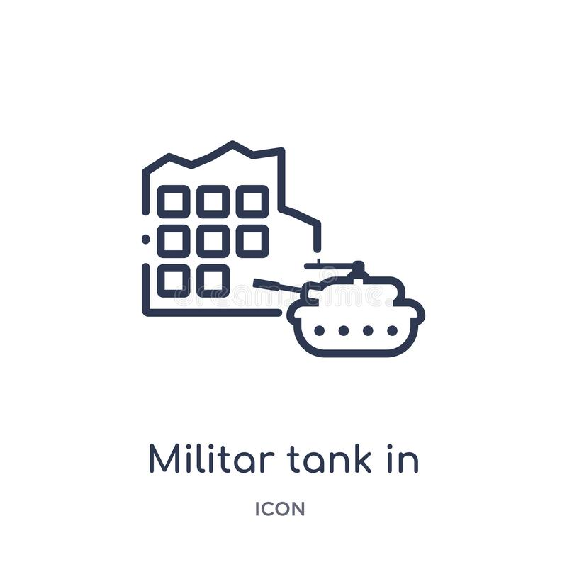 Linear militar tank in city street icon from Army outline collection. Thin line militar tank in city street vector isolated on royalty free illustration