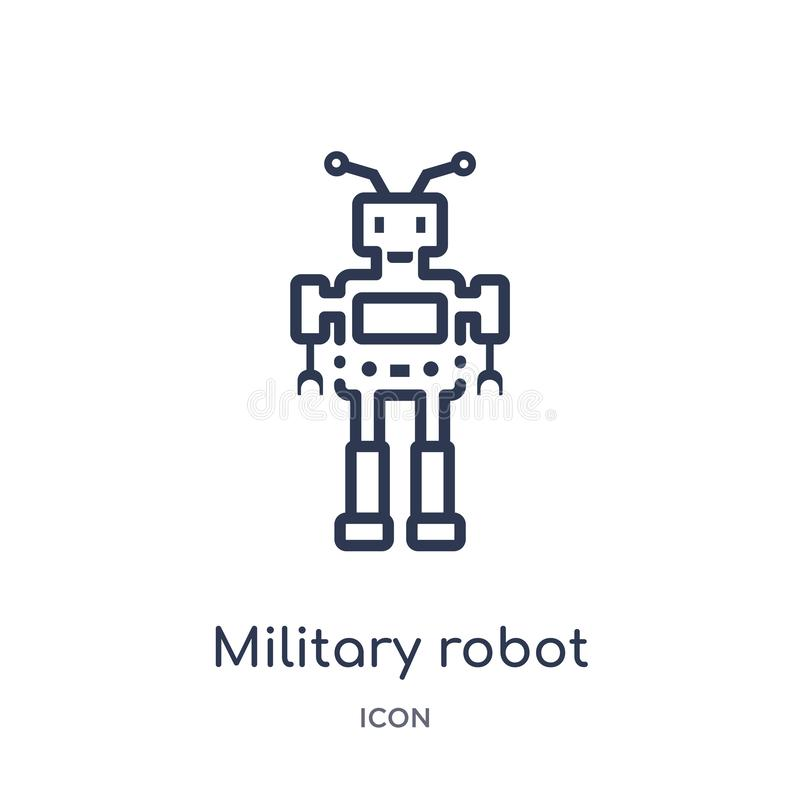 Linear military robot machine icon from Army outline collection. Thin line military robot machine vector isolated on white vector illustration