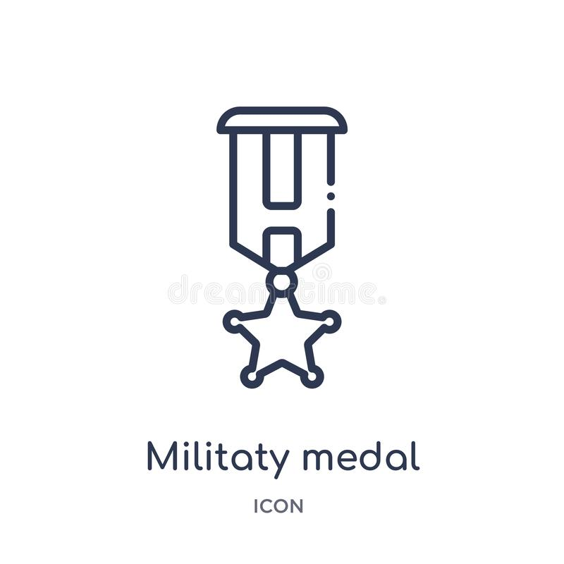 Linear militaty medal icon from Army and war outline collection. Thin line militaty medal vector isolated on white background. royalty free illustration
