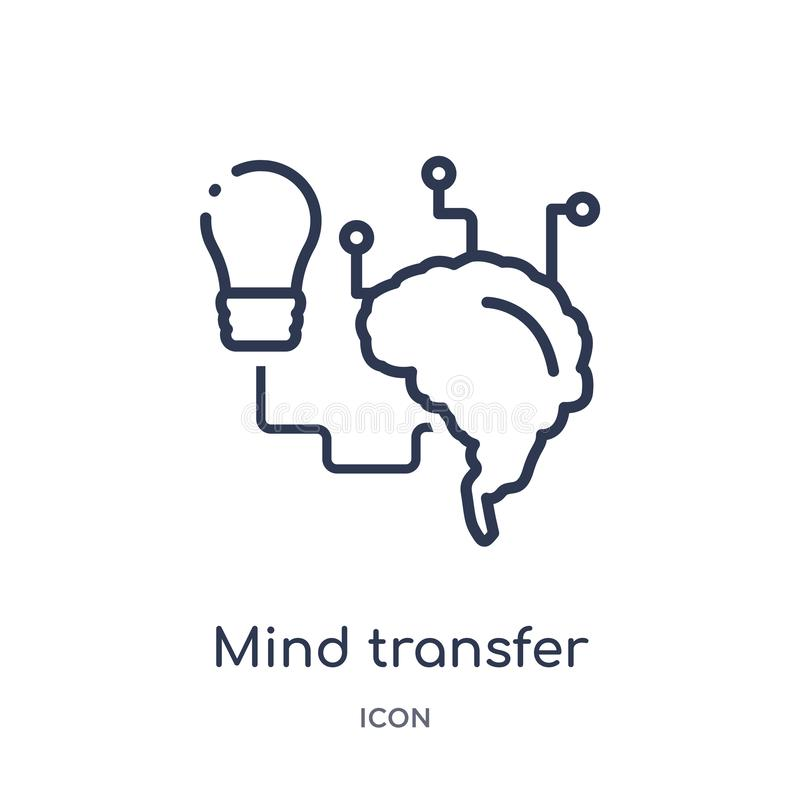 Linear mind transfer icon from Artificial intellegence and future technology outline collection. Thin line mind transfer vector vector illustration