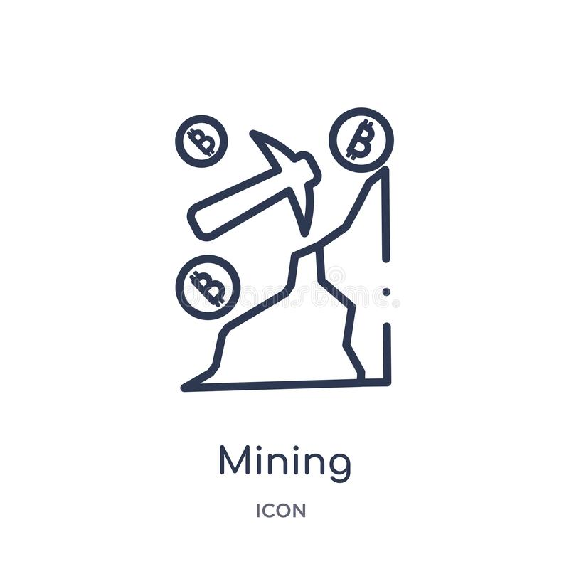 Linear mining icon from Cryptocurrency economy and finance outline collection. Thin line mining vector isolated on white stock illustration