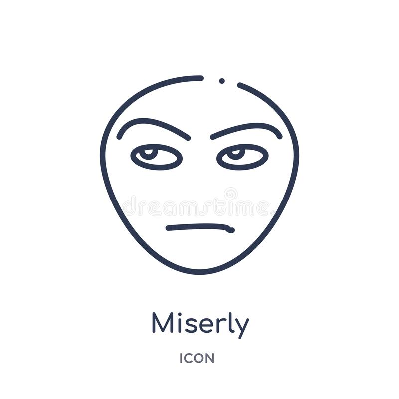 Linear miserly icon from Emotions outline collection. Thin line miserly vector isolated on white background. miserly trendy stock illustration
