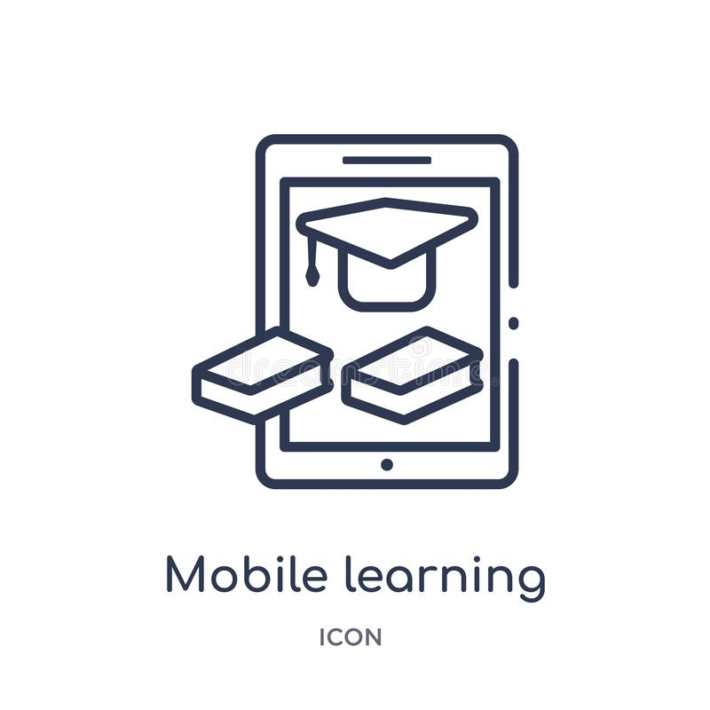 Linear mobile learning icon from Elearning and education outline collection. Thin line mobile learning vector isolated on white vector illustration