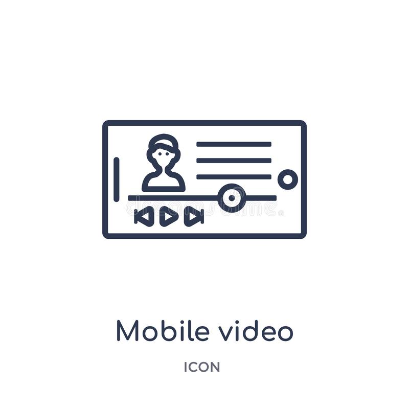 Linear mobile video icon from Blogger and influencer outline collection. Thin line mobile video vector isolated on white stock illustration