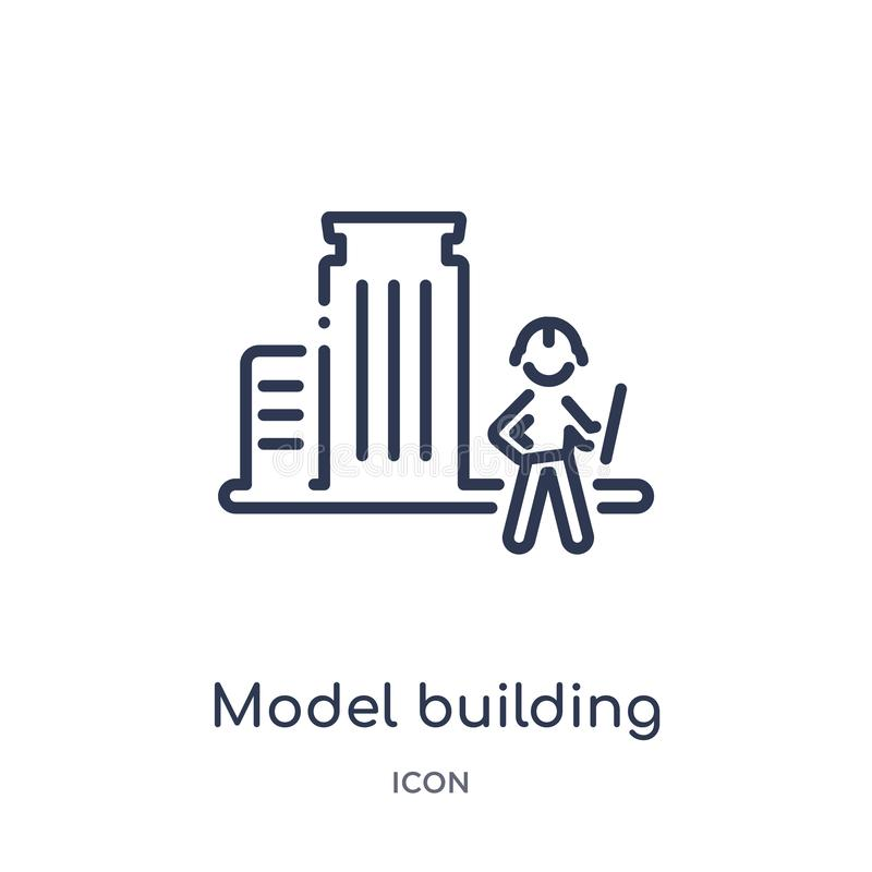 Linear model building icon from Activity and hobbies outline collection. Thin line model building vector isolated on white royalty free illustration