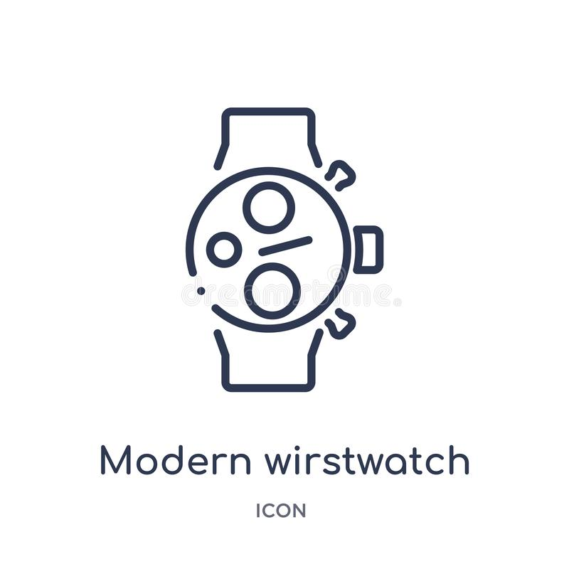 Linear modern wirstwatch icon from Airport terminal outline collection. Thin line modern wirstwatch vector isolated on white stock illustration