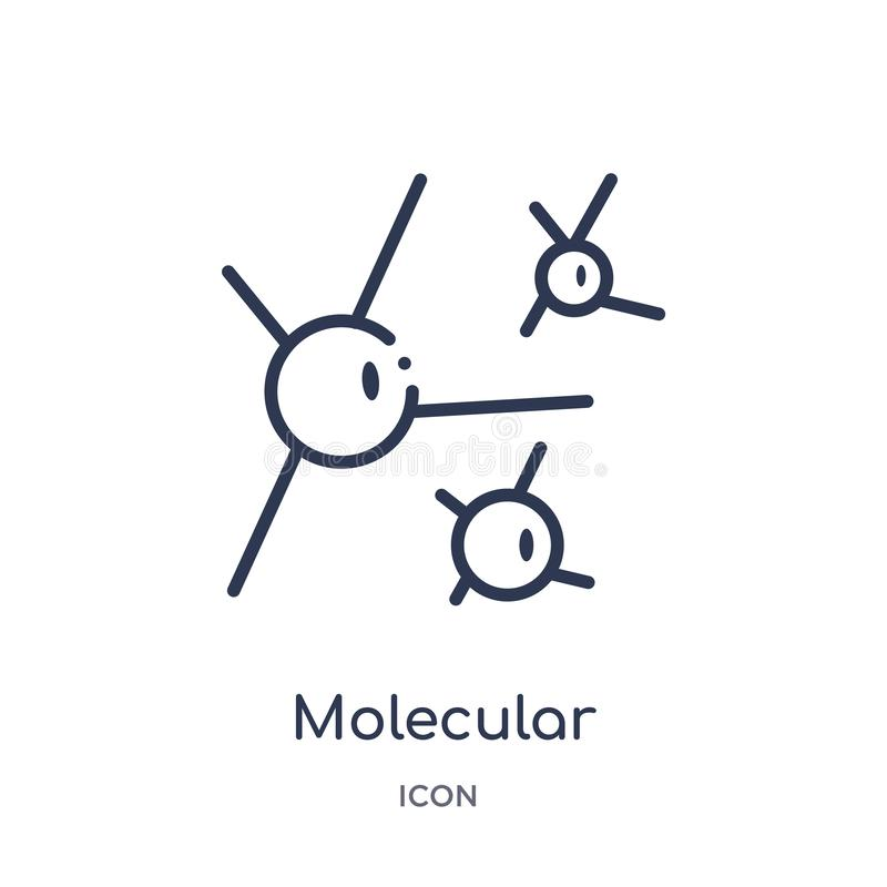 Linear molecular icon from Chemistry outline collection. Thin line molecular vector isolated on white background. molecular trendy stock illustration