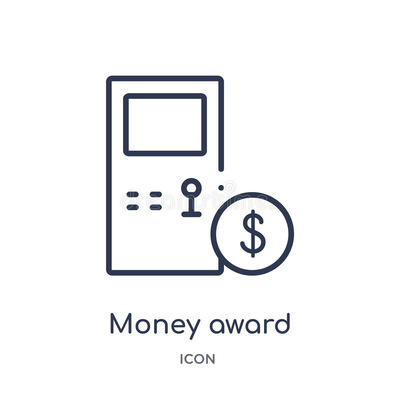 Linear money award icon from Gaming outline collection. Thin line money award icon isolated on white background. money award stock illustration