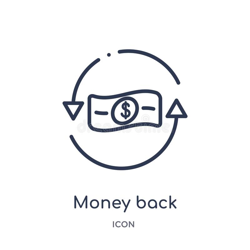 Linear money back icon from Business and finance outline collection. Thin line money back icon isolated on white background. money stock illustration