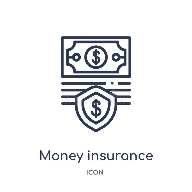 Linear money insurance icon from Insurance outline collection. Thin line money insurance icon isolated on white background. money royalty free illustration