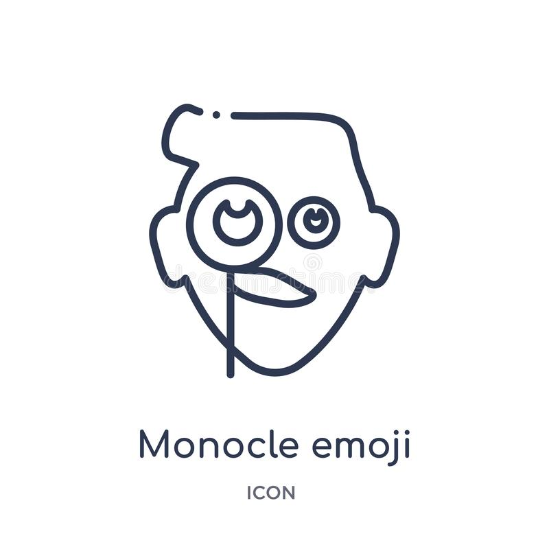 Linear monocle emoji icon from Emoji outline collection. Thin line monocle emoji vector isolated on white background. monocle royalty free illustration